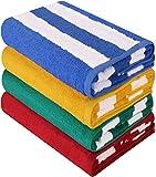 Utopia Towels - Toalla de piscina grande con toalla de playa en Cabana Stripe, paquete de 4, 100%...