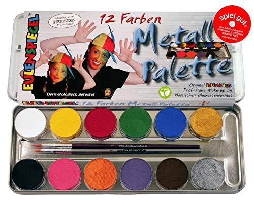 palette aus Metall mit 12 Farben und 2 Profipinsel, 1 Stück ()