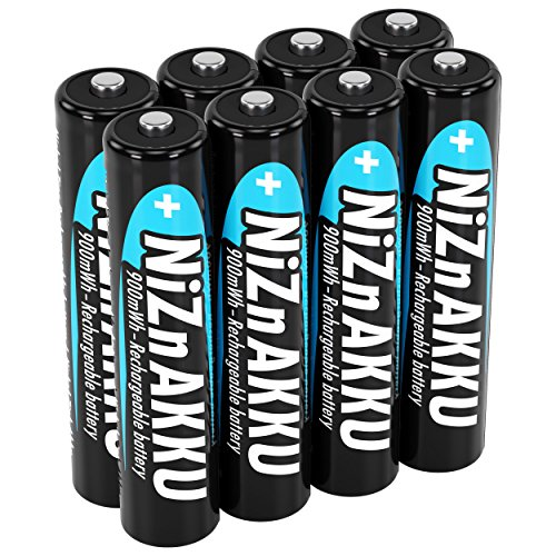 ANSMANN Micro NiZn Akku AAA 1,6V 900mWh - Ni-Zn Accu AAA wiederaufladbar - Kein Memory Effekt Akkus - wiederaufladbare Batterien AAA ideal für Fernbedienung Taschenlampe Spielzeug - 8 Akku Batterien - Nickel Triple