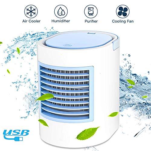 leegoal 3 in 1 Mini luftkühler, USB-Powered Mobile klimaanlage with luftbefeuchter, reinigen, Fernbedienung, 3 verstellbare Winde, 7 LED-Leuchten für Zuhause, Büro Oder Schlafzimmer