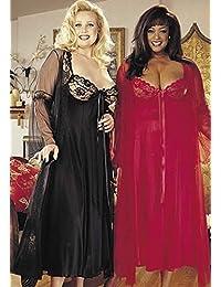 Shirley of Hollywood Taille 4X Noir Longue robe et Peignoir Peignoir–Déshabillé–Lot de 2