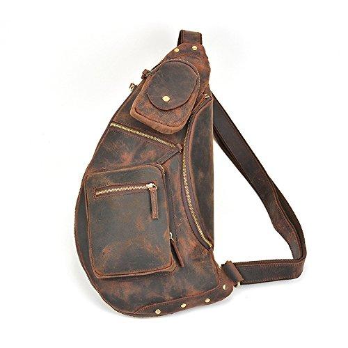 Mefly Herren Outdoor Freizeitaktivitäten Xiekua Paket Tasche Tasche brown