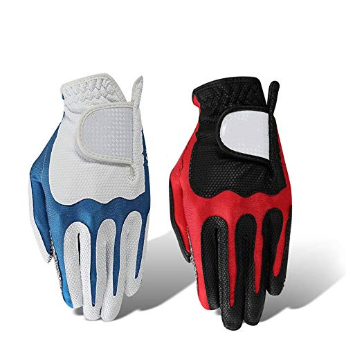 Männer Golfhandschuhe, Left Hand Handschuhe, Standardgröße Golfhandschuhe Mann links rutschen PU superelastische Sporthandschuhe schwarz rot, weiß und blau weich, kühl und angenehmes Gefühl.