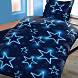 4tlg Microfaser Bettwäsche Klassisch Modern Sterne in Blau 2x 135x200 cm + 2x 80x80 cm 4-tlg Set NEU mit Reißverschluss nach ÖKO-TEX Standard
