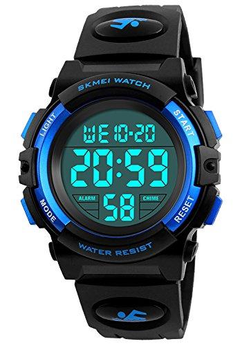Reloj deportivo digital para niños con alarma para niños y niñas, resistente al agua, color azul