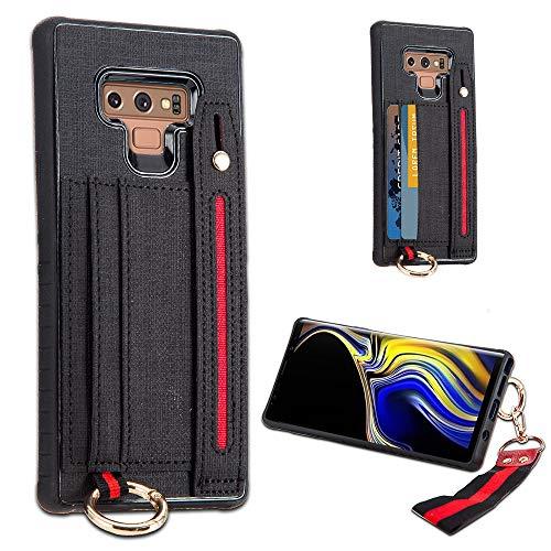 LUXCA Schutzhülle für Samsung Galaxy Note 9, Leder, mit Reißverschluss, Handtasche, Handtasche, Handschlaufe, aufsteckbar, schwarz - Handys Att Unlocked