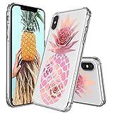 MOSNOVO Coque iPhone XS/Coque iPhone X, Tropical Ananas Rose Clair Design Motif...