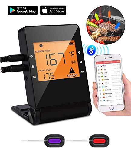 Termómetros de Cocina, Digital Termómetros con LCD Pantalla, Remoto App,Varias Sondas 1 Termómetro...