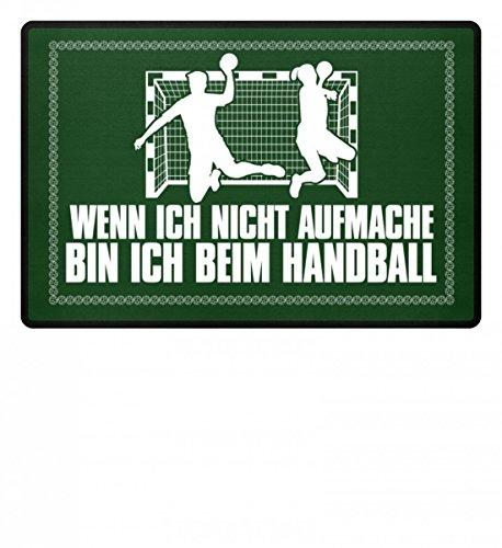 Shirtee Hochwertige Fußmatte - Wenn ich nicht aufmache bin ich beim Handball Handballschuhe Trikot Mann Frau Geschenk