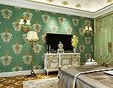 TX NEIYI Retro Europäischen Damaskus Luxus Atmosphäre Vlies Tapete Grün Große Anaglyph Tapete Wohnzimmer Schlafzimmer Film Hintergrund,LightGreen