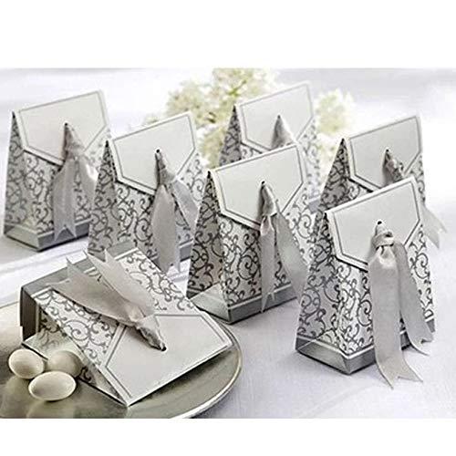 Gudotra 100pz scatole portaconfetti argento di carta scatolina confettata bomboniera per matrimonio compleanno battesimo comunione nascita laurea natale