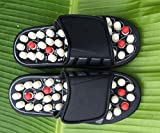 Akruti Foot Massage Slippers Health Shoe Sandal Massages Reflexology Feet Elderly Healthy Care Product Rest Pebble Stone Massager Shoes (42 43, White)