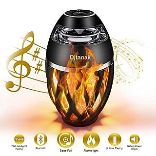 LED Flammenlichtlautsprecher, Djtanak Outdoor Bluetooth-Lautsprecher mit überlegenem Stereosound, BassUp, IP65 wasserdicht, perfekte drahtlose Lautsprecher-Tischlampe für Weihnachtsgeschenk
