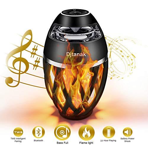 LED Flammenlichtlautsprecher, Djtanak Outdoor Bluetooth-Lautsprecher mit überlegenem Stereosound, BassUp, IP65 wasserdicht, perfekte drahtlose Lautsprecher-Tischlampe für Weihnachtsgeschenk (Einladungen Um Orte,)
