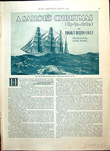 Alte Ursprüngliche Antike Viktorianische Druck-Segelschiff-Boots-Polizist-Mann-Mädchen-Oberkellner-Birnen-Geschichte 1911 532RG617