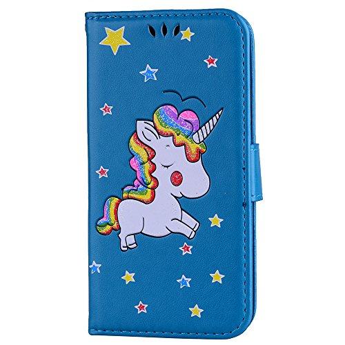 Custodia per iPhone X, ESSTORE-EU Unicorn Design Premium Custodia in PU Pelle con Custodia Innominale Soft TPU, Unicorn Carino con Bling Bling Glitter Charming Scintillante Stella [Oro rosa] Blu