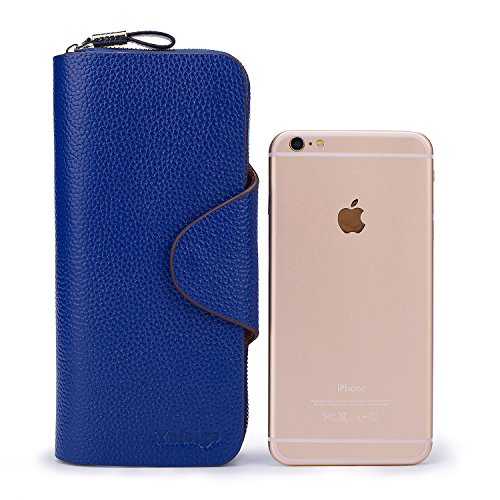 Yafeige Large Luxury Women's RFID Blocking Tri-fold Leather Wallet Zipper Ladies Clutch Purse(Royal Blue)