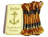 #6: Anchor Stranded Cotton Metallic Skeins Fast color-Gold-4652M101 (25 Skiens, 25 x 8m)