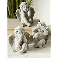 Figura angel angelito cemento 14cm pack 3