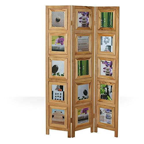 Homestyle4u 971, Foto Paravent Raumteiler 3 teilig, Fotowand Holz, Natur