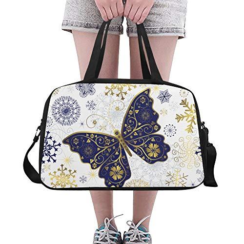 e Schneeflocke Schmetterling Phantasie Landschaft Yoga Gym Totes Fitness Handtaschen Seesäcke Schuhbeutel Für Sportgepäck Damen Outdoor Kleine Handtasche ()