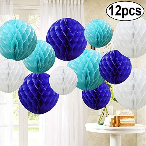 12 Stück Papier Pompoms Wabenbälle Pompons Papierwaben Papierlaterne Hochzeit Baby Dusche Parteien (Royal Blue Shade,)