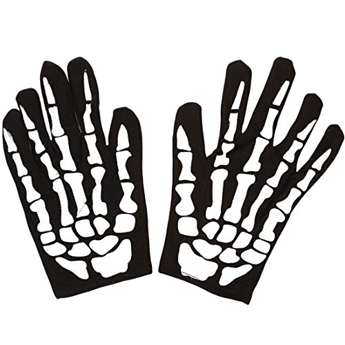 (Halloween Skelett Print Thinsulate Goth Racing Full Finger Magic Stretch-Handschuhe Weiß)