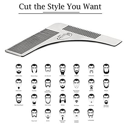 Kaiercat® Stainless Steel Beard Shaping Tool and Scissors Kit for Beard Trimming and Grooming, Gifts for Father's Day… 4