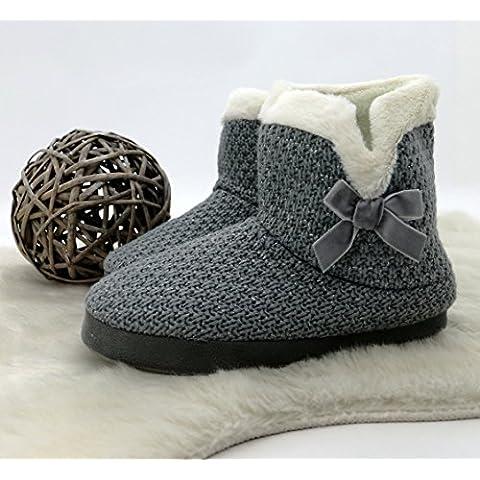 Cabaña Zapatos Zapatillas de punto con purpurina & terciopelo lazo Botas con Pelo Super Cómodo y cómodo con suela antideslizante Comfort LIEBEVOLL perfectamente. Botas de invierno typ389, poliéster, gris, Größe 40