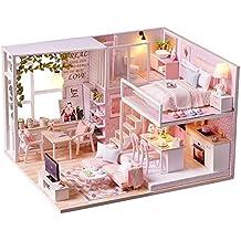 Spilay DIY Miniatur Puppenhaus Holzmöbel Kit,Handgemachte Mini Moderne  Wohnung Modell Mit Staubschutz U0026 Spieluhr