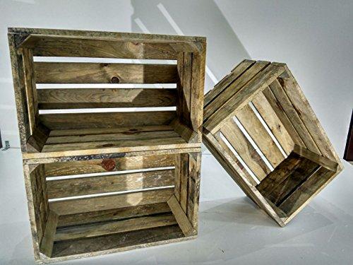Lote DE 3 Cajas DE Madera Envejecida Tipo Fruta Vintage