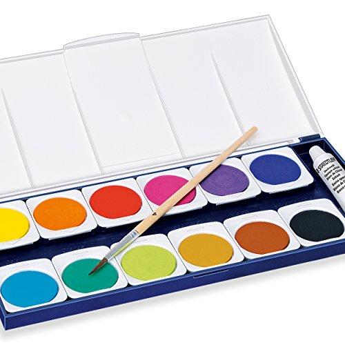 Staedtler Noris Club 888 NC12 Farbkasten, leicht mischbare Wasserfarben, hohe Farbbrillanz, hervorragende Deckkraft, Set aus 12 auswechselbaren Farbtöpfchen, 1 Tube Deckweiß und 1 Pinsel - 4