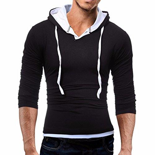 QIYUN.Z Cappuccio Manica Lunga Uomo Con Cappuccio T-Shirt Casual Felpe Con Cappuccio Nero bianco