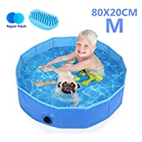 Pecute Dog Paddling Pool, Sturdy Foldable Dog Swimming Pool Bathtub Children Kids Paddling Bathing Pool For Garden Patio Bathroom