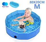 Pecute Paddling Pool for Pets & Kids Small 80x20cm,Sturdy Foldable Dog Swimming Pool