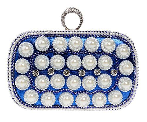 Santimon Clutches Für Damen Perle Strass Glänzend Handtaschen Beiläufiger Partei Umhängetasche Blau