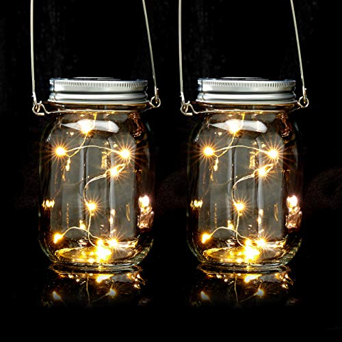 2er Set, je 8 LED im Einmachglas, Stellen oder hängen, Solarleuchte für den Garten, transparent ()