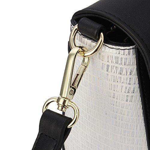 Kadell Sacchetto di spalla di cuoio delle donne Cartella piccola falda Crossbody Borsa Grigio Nero Nero bianco