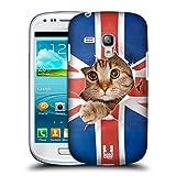 Head Case Designs Union Jack Katze Komische Tiere Snap-on Schutzhülle Back Case für Samsung Galaxy S3 III mini I8190