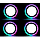 9w Round Slim PGB (Pink,Green,Blue) Double Color Led Panel Light 3D Effect Light Pack Of 04