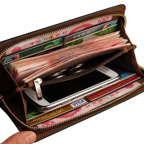 Oneworld Herren Rindleder Clutch Handyetui Universalbörse Geldbörse Börse Geldbeutel Geldtasche Portemonnaie 10.5x20x2.2cm(BxHxT) Khaki Dunkel Blau