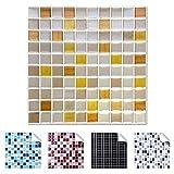 Wandaro 4er Pack 25,3 x 25,3 cm Gold Kupfer Silber Design 3 I 3D Fliesenaufkleber Mosaik große Auswahl für Küche Bad Fliesenfolie selbstklebend Wandaufkleber W3329