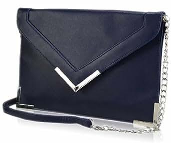 Damen übergroße Lasche Blau Clutch Abentasche Tasche Handtasche - KCMODE