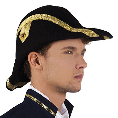 Boland 81923 - Erwachsenenhut Pirat Bicorne, One Size (Hut Admiral)