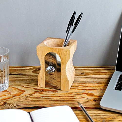 SUCK UK Pencil Sharpener Desk Tidy - Natural