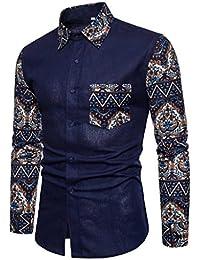 Yesmile Camisas Blusa Hombre Camisa de Manga Larga Casual para Hombre Camisa  de Vestir Slim Fit e34d8e4cf5ea7