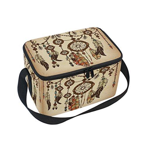DOSHINE Bolsa de almuerzo con plumas tribales Boho para atrapasueños, bolsa térmica para el frío y el hielo reutilizable para hombres, mujeres, adultos, niños y niñas