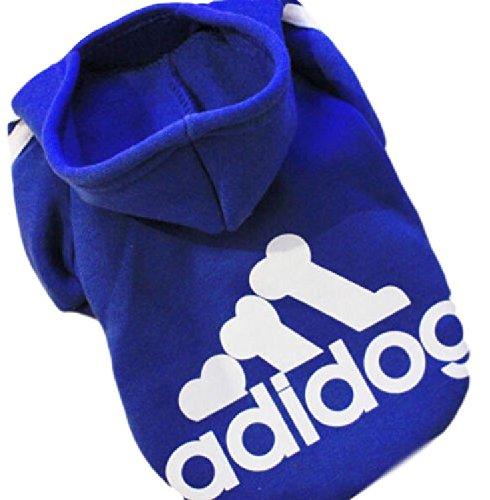 Ducomi® Adidog - Felpa Sportiva Invernale in Cotone con Cappuccio e Logo per Cani e Gatti (L, Blue)