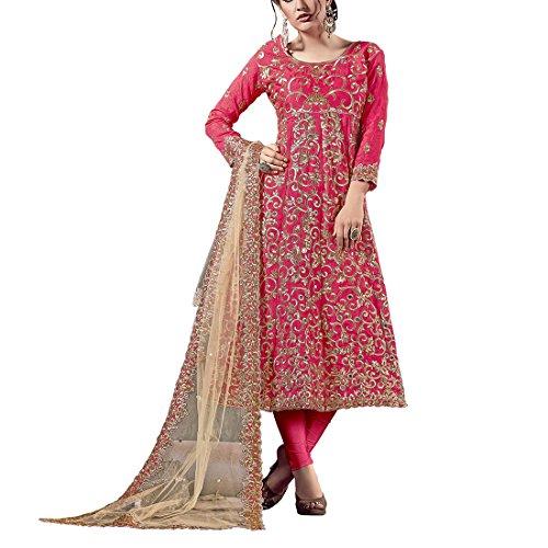 Aryan Fashion Women's Dress Material (AFS-AGAEV11144_Free Size_Pink)