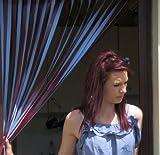 Wohnwagen-Türvorhang, Fliegengitter, Insektenschutz, Streifenvorhang -weinrot & himmelblau- 62cm breit